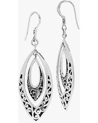 Lois Hill Classic Carved Scroll Marquis Drop Earrings - Metallic