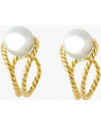 Haute Victoire Baroque Pearl Hoop Earrings - Metallic