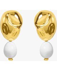 Monica Sordo Oriente White Onyx Drop Earrings - Metallic
