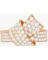 Carelle Jumbo Knot Pavé Diamond Ring - Metallic