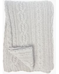 Sofia Cashmere Mixed Cable Throw - Gray