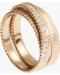 Sophie Ratner - Half Embedded Diamond Spiral Ring - Lyst