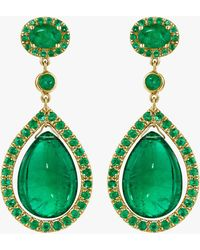 Mimi So Couture Emerald And Gold Earrings - Green