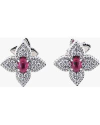 Roberto Coin - Ruby And Diamond Flower Earrings - Lyst