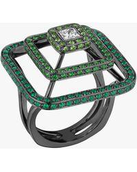 Mimi So Piece Pyramid Tsavorite Ring - Metallic