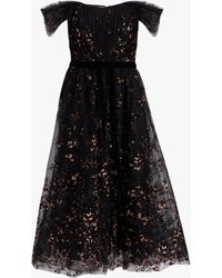 Marchesa notte Off-the-shoulder Flocked Glitter Tulle Midi Dress - Black