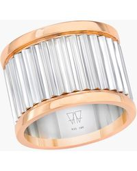 WALTERS FAITH Clive Sterling Silver Fluted Band Ring - Metallic