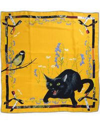 EMILIA MALA Wild Cat Silk Scarf - Yellow