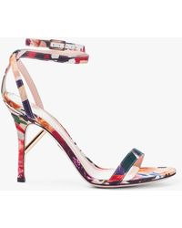 Cushnie et Ochs - Felix Floral Print Sandal With Ankle Strap - Lyst