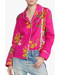 Cynthia Rowley Botanical Pajama Shirt - Pink