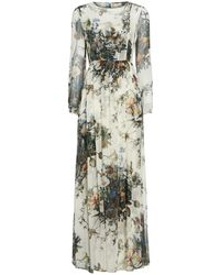 Adam Lippes - Printed Silk Long Sleeve Gown With Pleats - Lyst