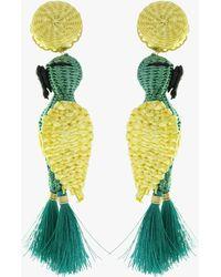 Mercedes Salazar Forest Cockatoo Earrings - Green