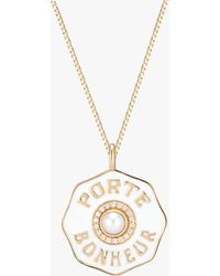 Marlo Laz Porte Bonheur Pearl Coin Pendant Necklace - Metallic