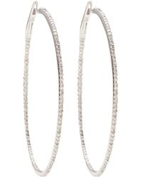Nina Runsdorf - White Gold Diamond Pavé String Hoops - Lyst