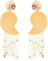 Mercedes Salazar Shell Fringe Earrings - Metallic