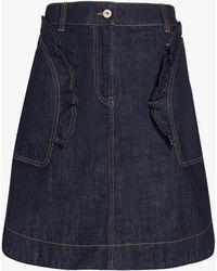 Carven Women's Denim Mini Skirt - Blue