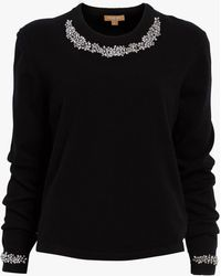0598df1be6ec Lyst - Michael Kors Pearl And Crystal Embroidered Cashmere Pullover ...