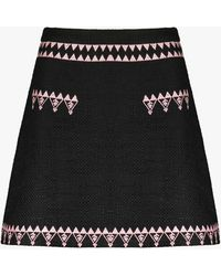 Cynthia Rowley Women's Nicola Embroidered Tweed Skirt - Black