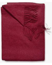 Sofia Cashmere Woven Fringe Throw - Red