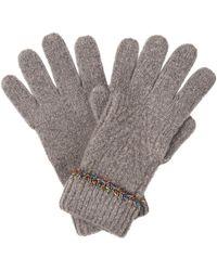 Oliver Bonas Tinsel Trim Gray Knitted Gloves