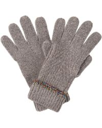 Oliver Bonas Tinsel Trim Grey Knitted Gloves - Gray