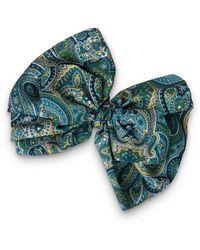Oliver Bonas Samantha Green Paisley Print Bow Barrette Hair Clip - Blue