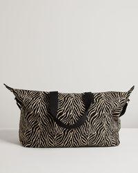 Oliver Bonas Zebra Brown & Black Weekend Bag