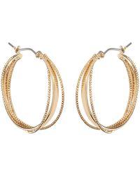 Oliver Bonas Gina Cross Over Hoop Earrings - Metallic