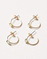 Oliver Bonas Nina Gem Inlay Hoop Earrings Set Of Two - Green