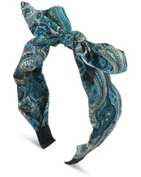 Oliver Bonas Samantha Green Paisley Print Bow Headband - Blue