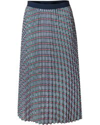 3b6bbd65fa Oliver Bonas - Explore Print Navy Pleated Midi Skirt - Lyst
