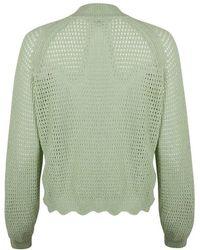 Oliver Bonas Pointelle Stitch Sage Knitted Bomber Jacket - Green