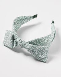 Oliver Bonas Marina Floral Bow Headband - Green