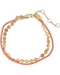 Oliver Bonas Cam Orange Cord & Disc Chain Bracelet - Metallic