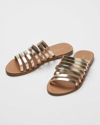 Oliver Bonas Strappy Mule Leather Sandals - Metallic