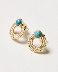 Oliver Bonas Hollis Turquoise & Textured Loop Gold Plated Drop Earrings - Blue