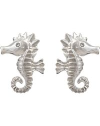 Oliver Bonas Stormy The Seahorse Silver Stud Earrings - Metallic