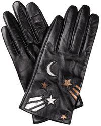 Oliver Bonas Moon & Star Black Leather Gloves
