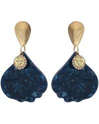 Oliver Bonas Celeste Blue Petal & Gem Drop Statement Earrings