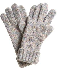 Oliver Bonas Rainbow Grey Cable Knitted Gloves - Gray