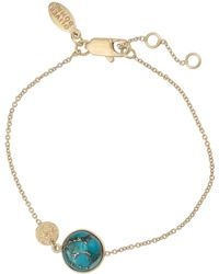 Oliver Bonas Zaire Blue Gem Inlay Curved Pendant Necklace - Metallic