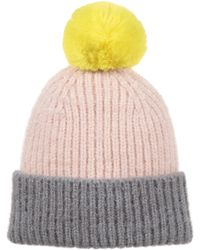Oliver Bonas Color Block Yellow Pom Knitted Beanie Hat - Multicolor