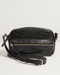 Oliver Bonas Kiara Faux Crock Croc Black Camera Crossbody Bag