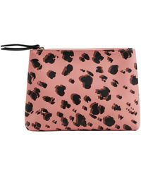 Oliver Bonas Snow Leopard Pink Zipped Pouch