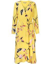 Oliver Bonas Leaf Print Yellow Wrap Dress