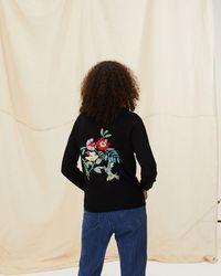 Oliver Bonas Tropical Embroidered Knitted Bomber Jacket - Black