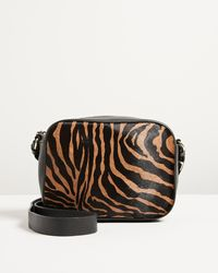 Oliver Bonas Reni Textured Zebra Print Brown Leather Crossbody Bag