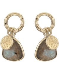 Oliver Bonas Estepa Disc & Labradorite Drop Earrings - Metallic