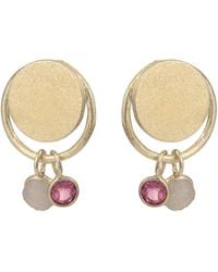 Oliver Bonas Symphony Circle & Stones Gold Plated Drop Earrings - Metallic