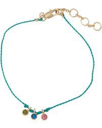 Oliver Bonas Perla Teal Cubic Zirconia Triple Charm Bracelet - Blue